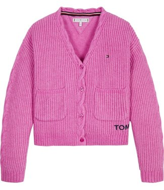Tommy Hilfiger TOMMY CABLE POCKET CARDIGAN FUCHSIA