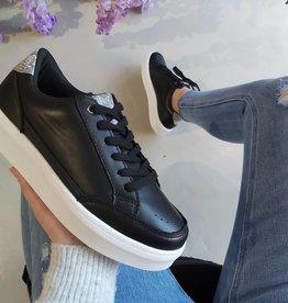 Lederen zwarte sneakers