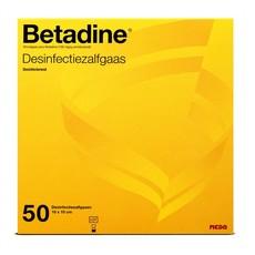 Betadine geïmpregneerd verbandgaas 10 x 10cm/ 50st