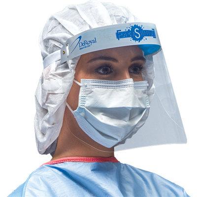 DeRoyal DeRoyal Face Shield, Full w/Elastic Strap, Vented Foam non-CE (50 stuks) Écran facial DeRoyal, complet avec sangle élastique, mousse ventilée non CE (50 pièces)