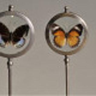Ronde kader met vlinders op voet (set van 3)