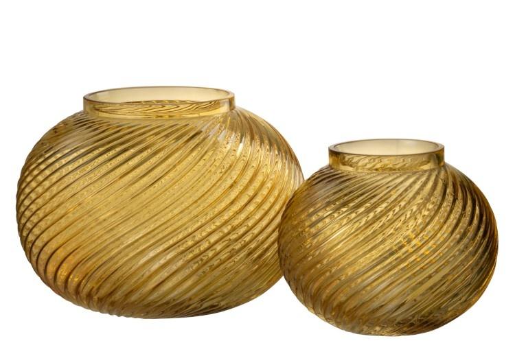 Vaas ribbels rond - Geel glas Small 15,5 x 15,5 x 12,5 cm-2