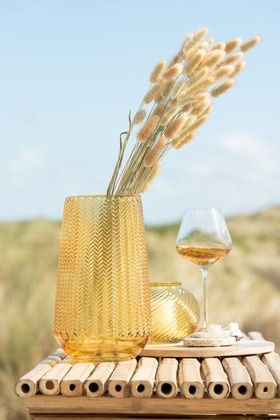 Vaas ribbels rond - Geel glas Small 15,5 x 15,5 x 12,5 cm-4