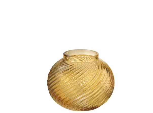Vaas ribbels rond - Geel glas Small 15,5 x 15,5 x 12,5 cm-1
