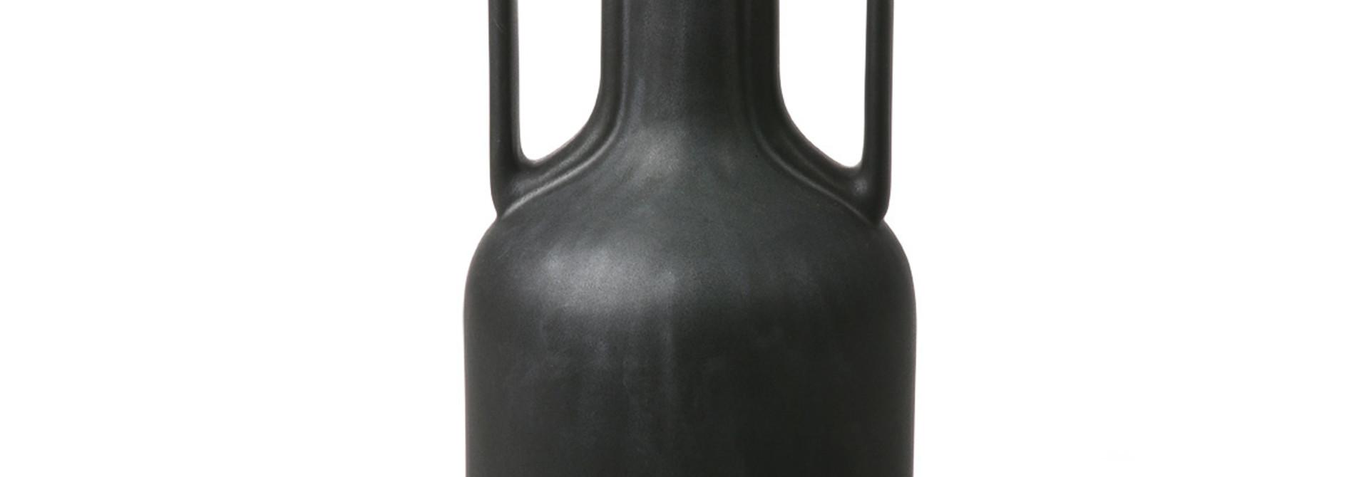 Keramische vaas - Zwart met handvaten