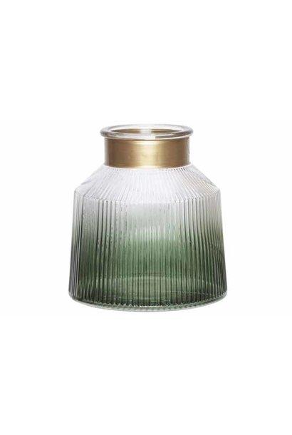 Transparante vaas met gouden hals - degradé
