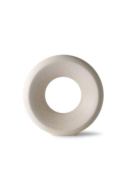 ceramic circle vase m white speckled