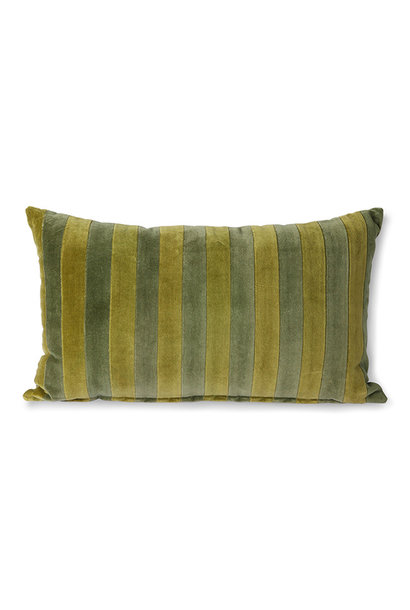 striped velvet cushion green/camo