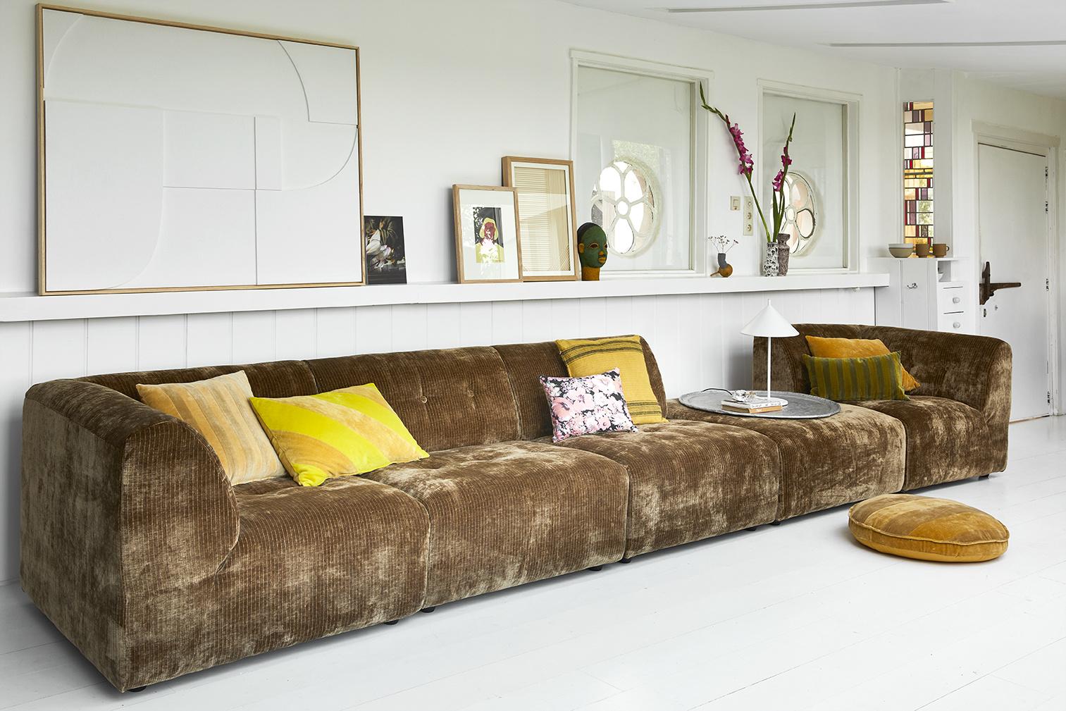 striped velvet cushion ochre/gold (45x45)-3