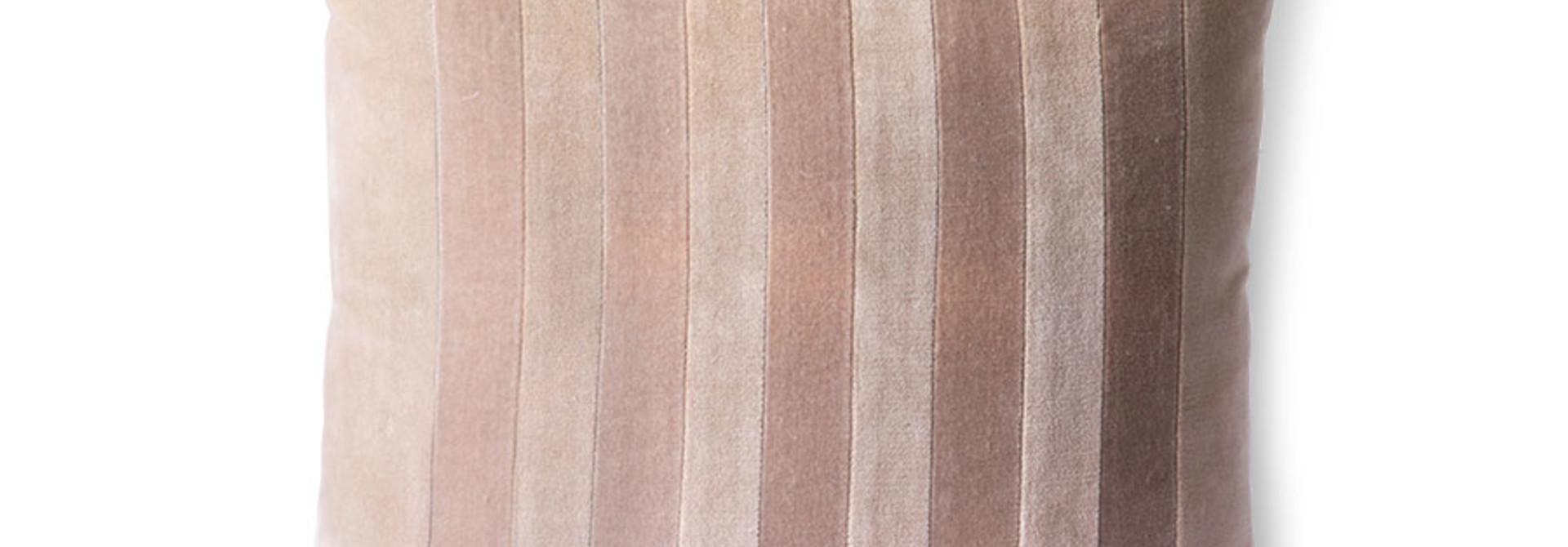 striped velvet cushion beige/liver (45x45)