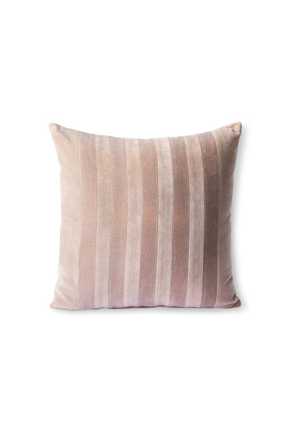 striped velvet cushion beige/liver