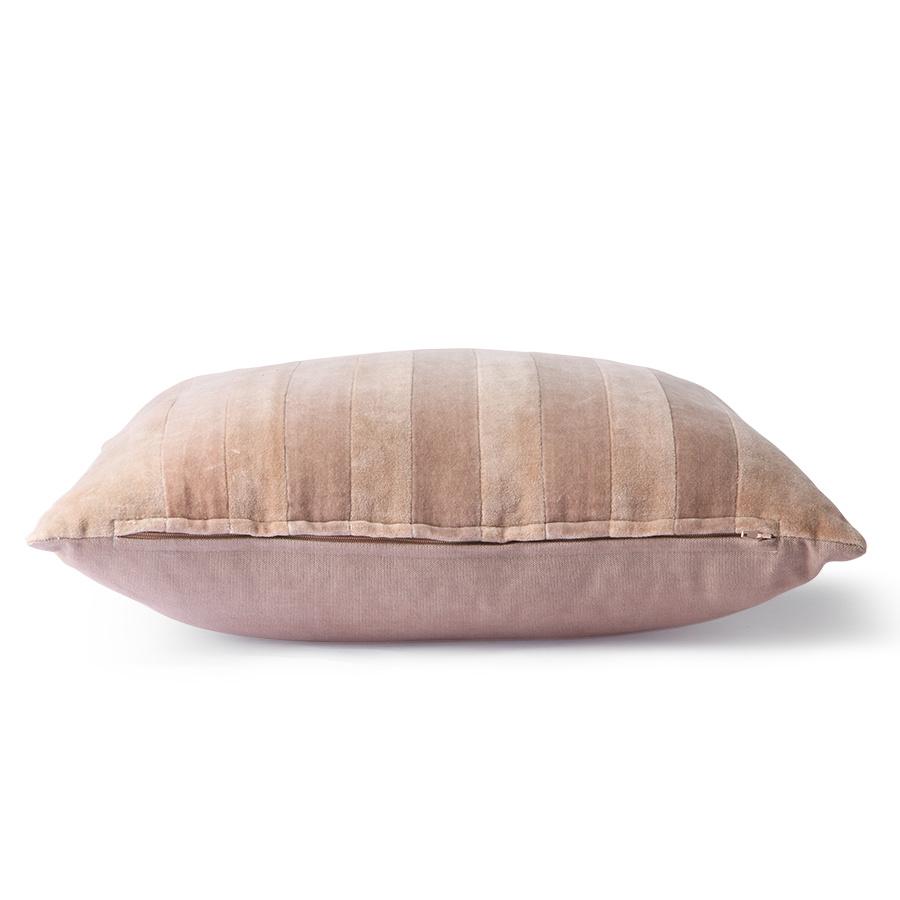 striped velvet cushion beige/liver (45x45)-2