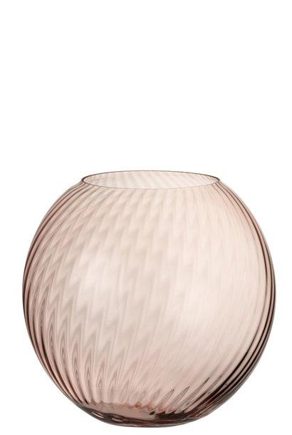 Vaas Rond Ribbels Glas Roze Large
