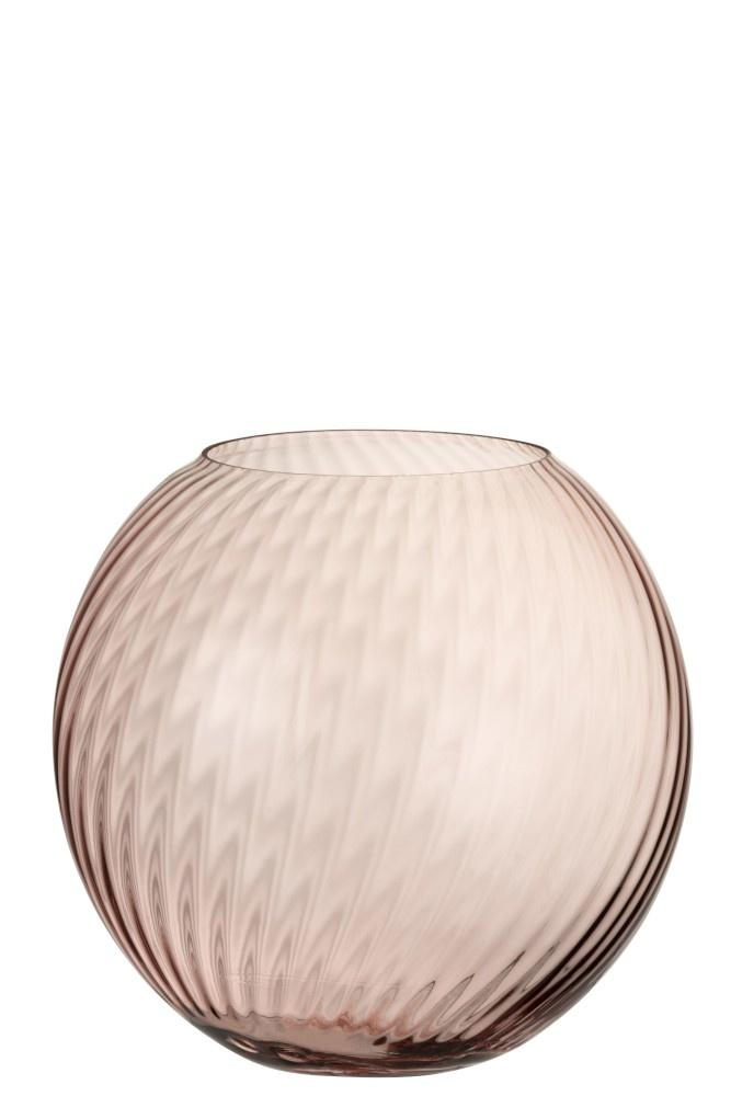 Vaas Rond Ribbels Glas Roze Large-1