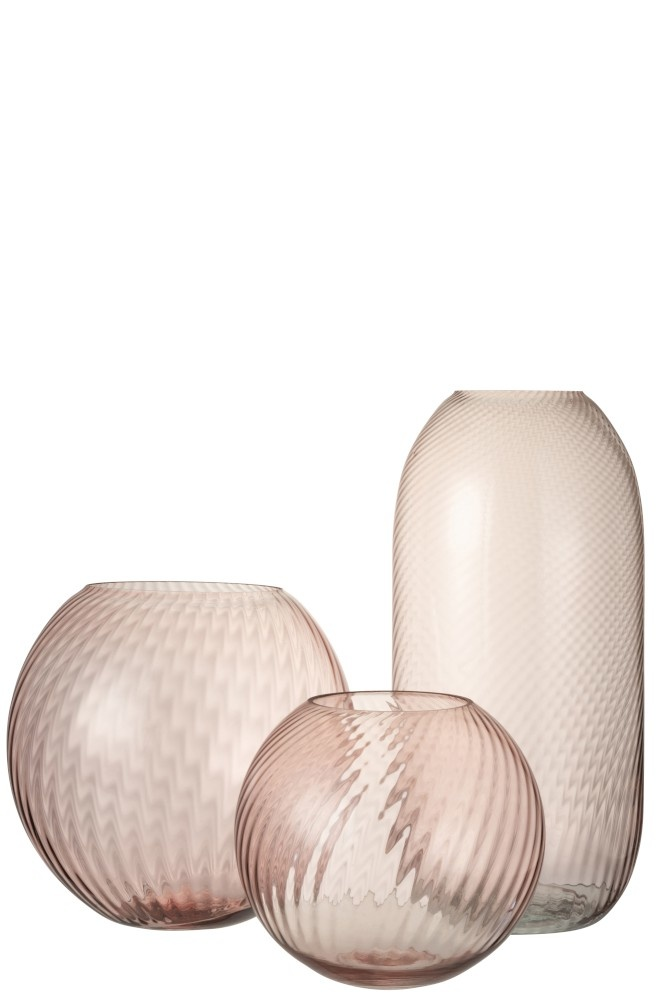 Vaas Rond Ribbels Hoog Glas Roze-2