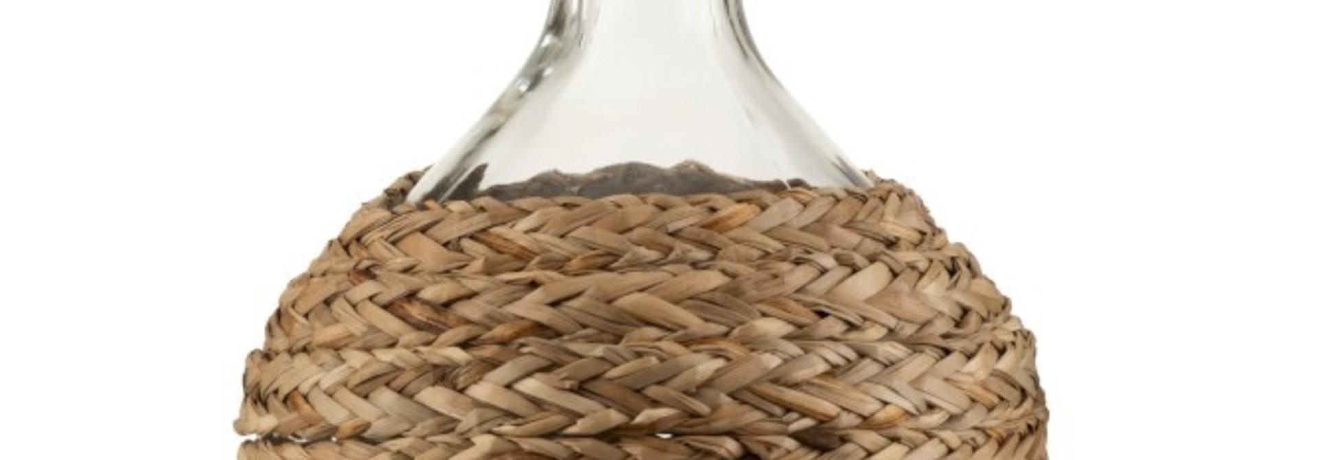 Fles Bedekt Gras/Glas Naturel Small