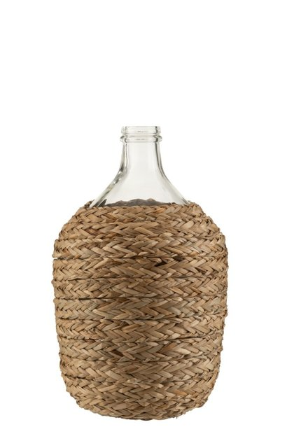 Fles Bedekt Gras/Glas Naturel Small