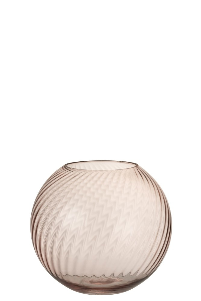 Vaas Rond Ribbels Glas Roze Small-1