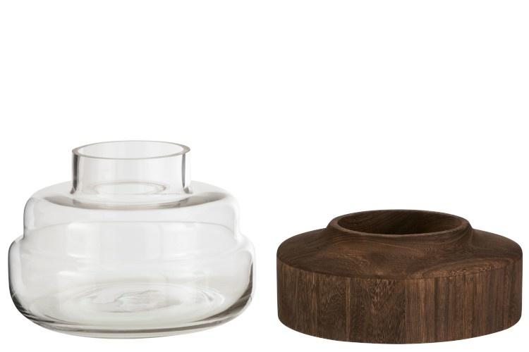 Vaas Breed Laag Hout/Glas Donkerbruin-2
