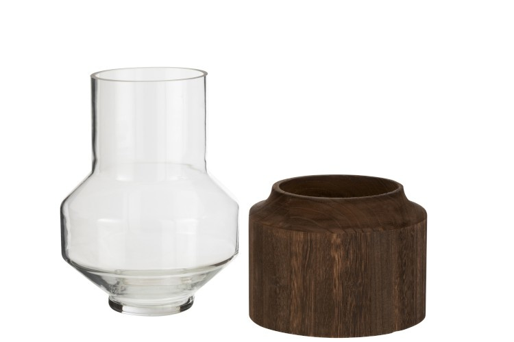 Vaas Rond Hoog Hout/Glas Donkerbruin Small-2