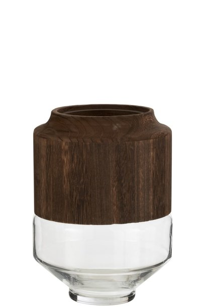 Vaas Hout/Glas Donkerbruin Small