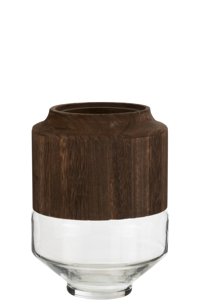 Vaas Rond Hoog Hout/Glas Donkerbruin Small-1