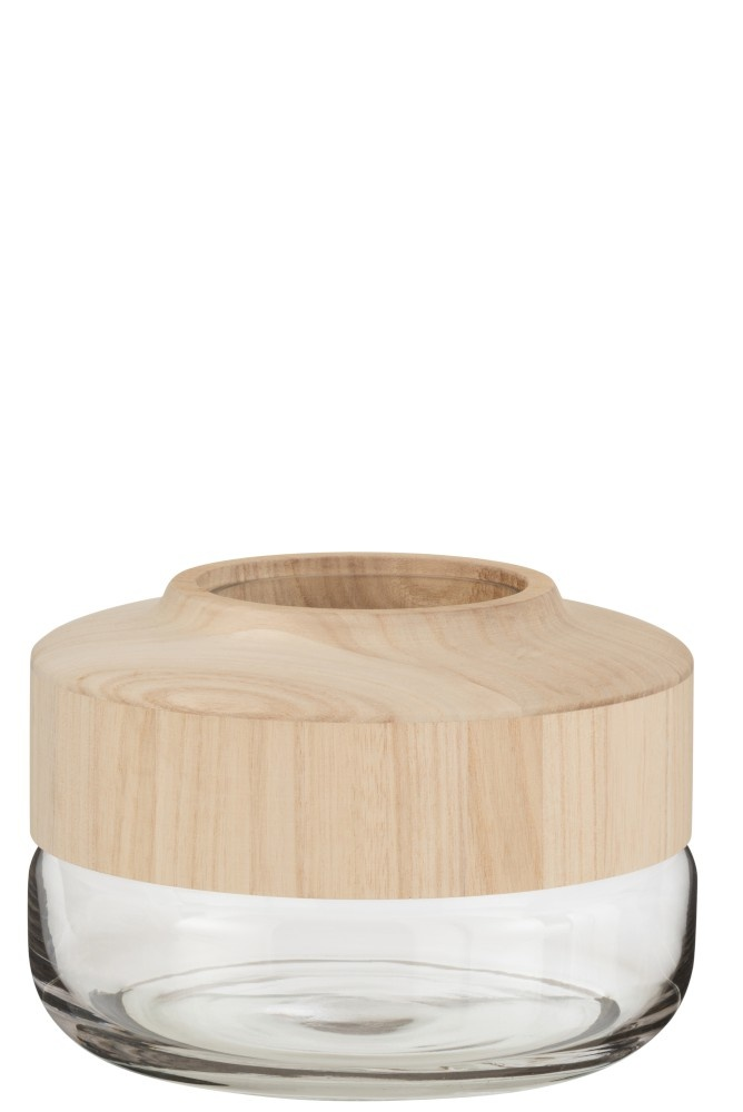Vaas Breed Laag Hout/Glas Lichtbruin-1