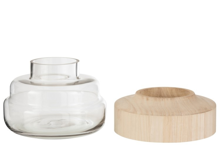 Vaas Breed Laag Hout/Glas Lichtbruin-3