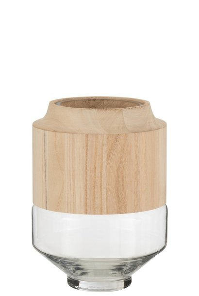 Vaas Hout/Glas Lichtbruin Small