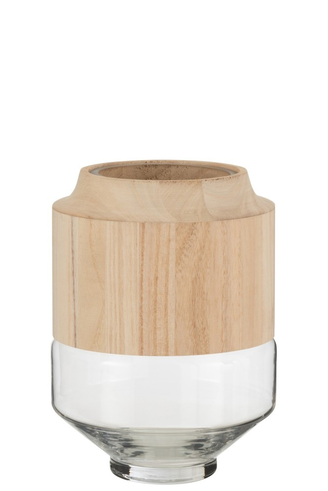 Vaas Rond Hoog Hout/Glas Lichtbruin Small-1