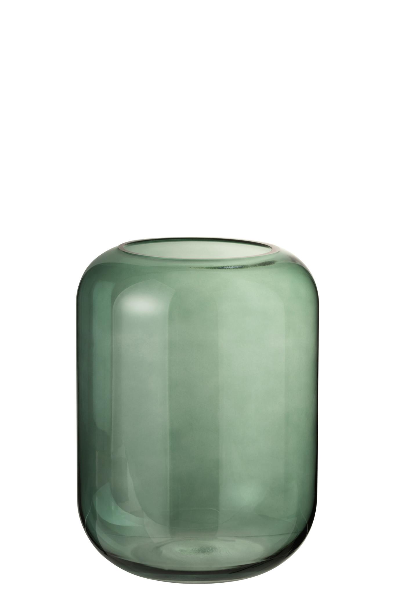 Vaas Rond Hoog Groen Glas Medium-1