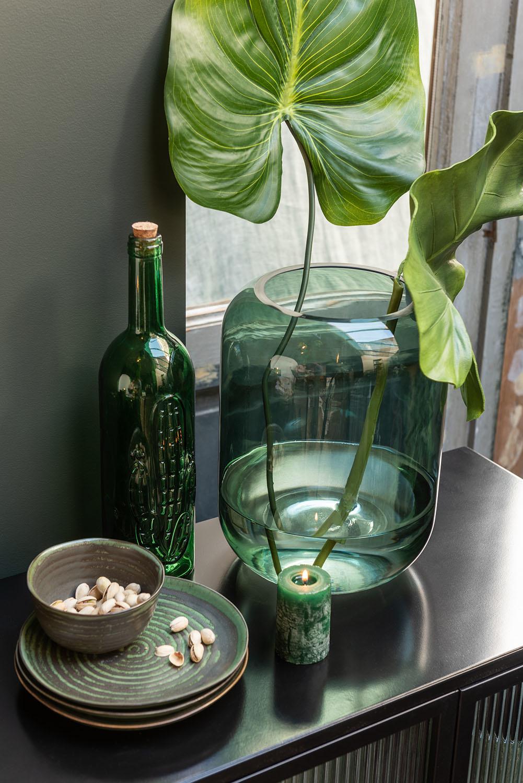 Vaas Rond Hoog Groen Glas Medium-3