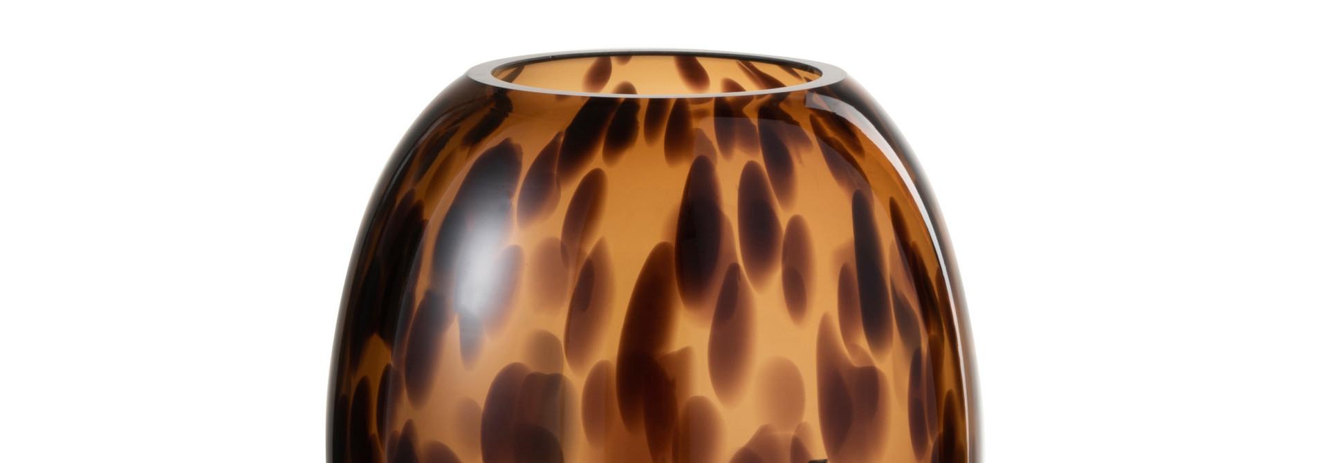 Vaas Op Voet Spikkel Glas Transparant/Bruin Small