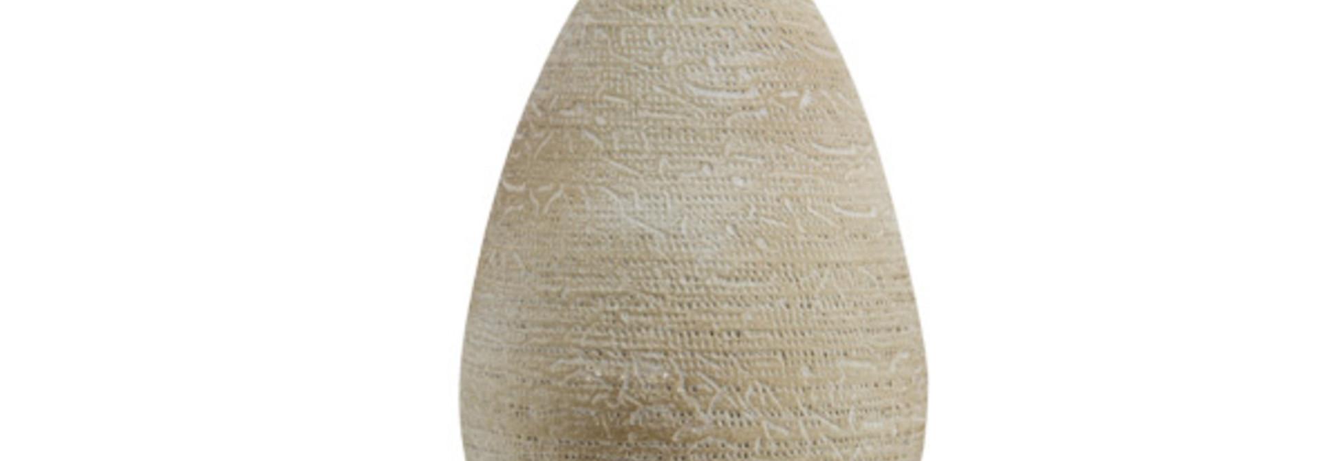 Vaas rough wash beige aardewerk 18x18h27 rond aardewerk