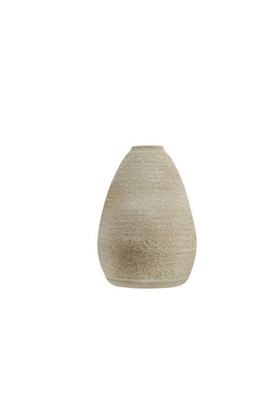 Vaas rough wash beige aardewerk 18x18h27