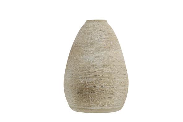 Vaas rough wash beige aardewerk 18x18h27 rond aardewerk-1