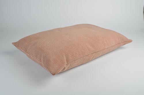 Snooze Kussen roze met beige strepen-1