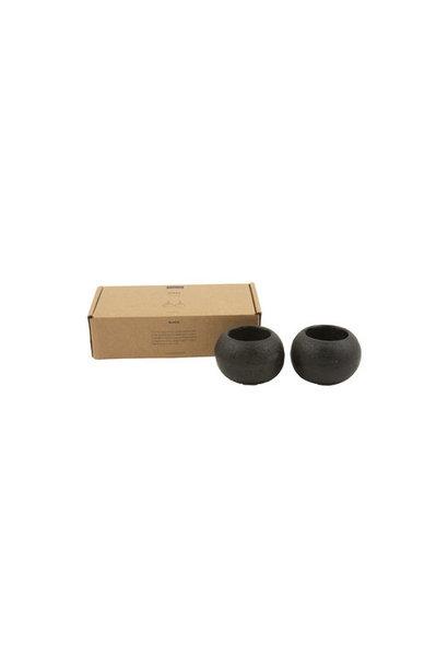 Kaarsen houder zwart gesteente