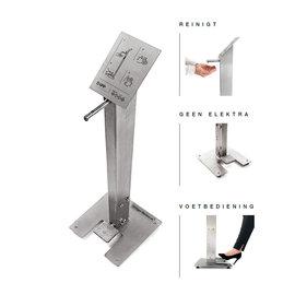 RVS Hand-desinfectiezuil met voetpomp