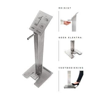 RVS Hand-desinfectiezuil met voetpomp - Showmodel