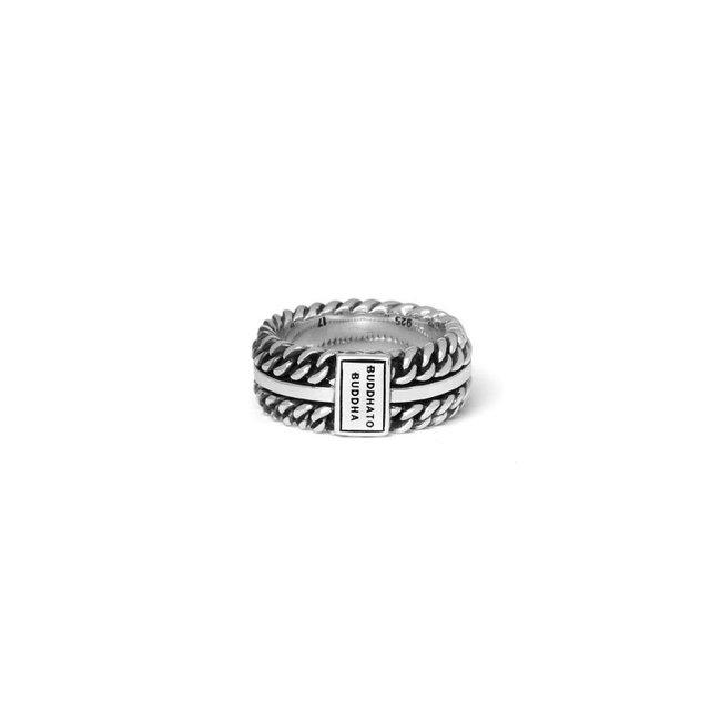 Buddha to Buddha Chain Texture Ring Silver