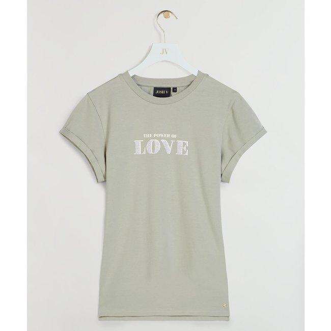 Josh V DORA POWER OF LOVE T-SHIRT STONE GREEN