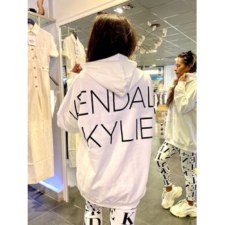 Kendall & Kylie OVERSIZED LOGO HOODY WHITE