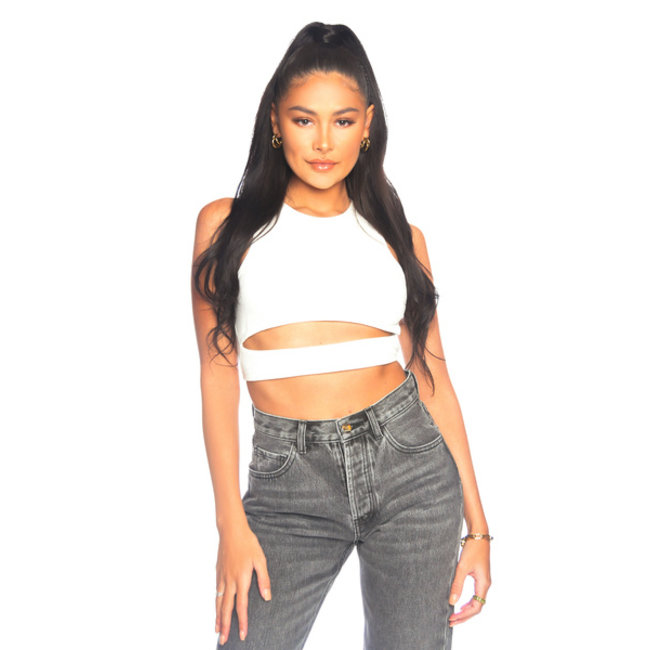 L.A Sisters CUT OUT CROP TOP WHITE
