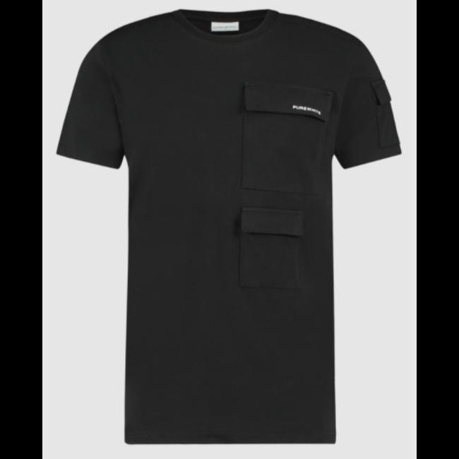 Pure White Utility Pocket T-shirt Black