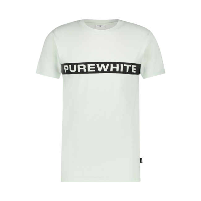 Pure White Logo Stripe T-shirt Green