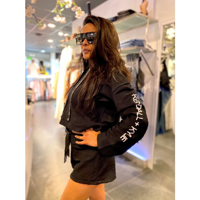Kendall & Kylie SHORT HOODY INSIDE OUT BLACK