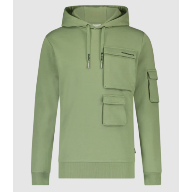 Pure White Utility Pocket Hoodie LIGHT ARMY