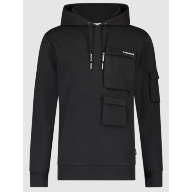 Pure White Utility Pocket Hoodie BLACK