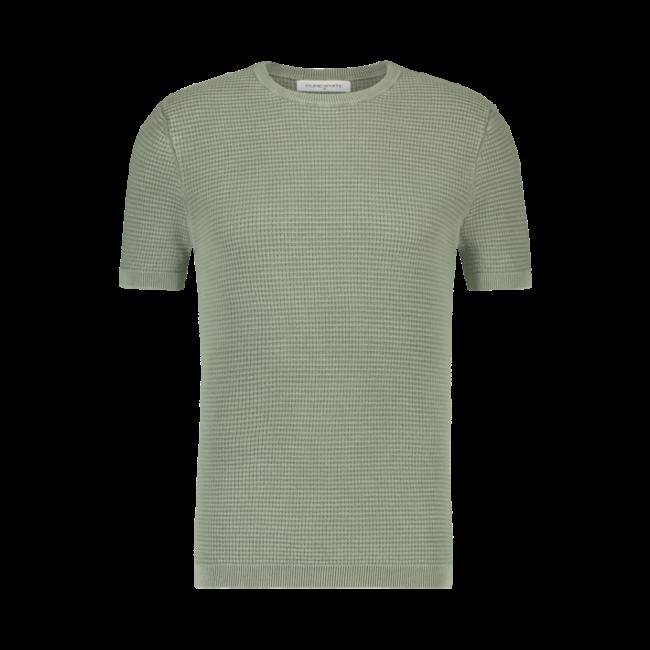 Pure White Waffle Knit T-shirt Army